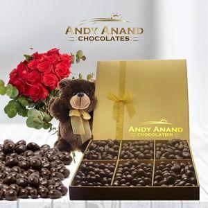 Women Dark Chocolate Gift Basket, Plush Teddy Bear